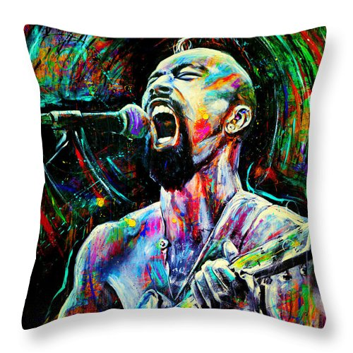 Robyn Chance Throw Pillow featuring the painting Nahko by Robyn Chance