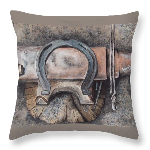 Horsehoe Throw Pillow featuring the painting Nail It Up by Kathy Laughlin