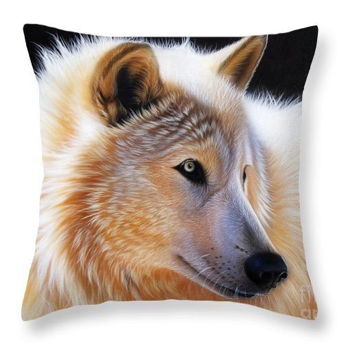 Acrylic Throw Pillow featuring the painting Nala by Sandi Baker