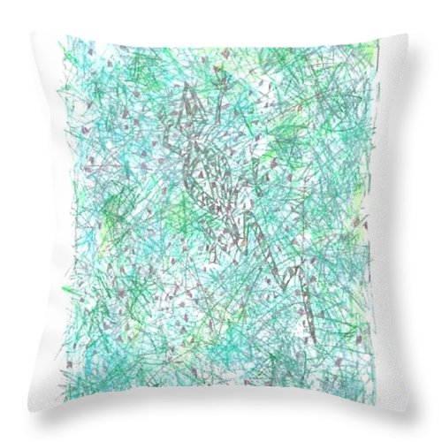 Abstract Throw Pillow featuring the drawing Nambung Goanna by Wayne Monninger