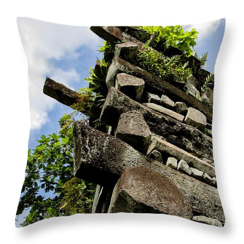 Nan Madol Throw Pillow featuring the photograph Nan Madol Wall by Dan Norton