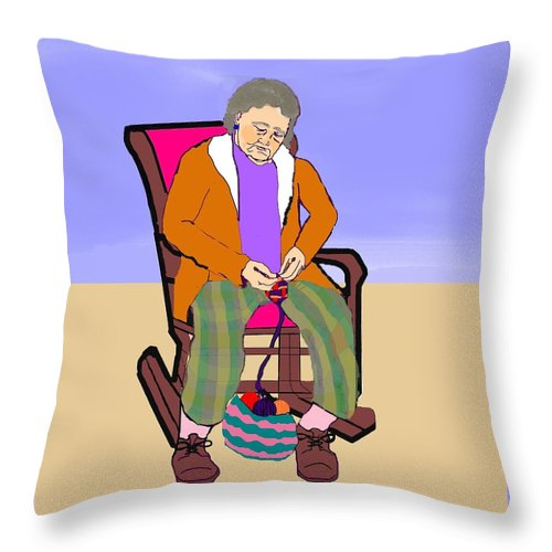 Grandmother Throw Pillow featuring the digital art Nana Knitting by Pharris Art