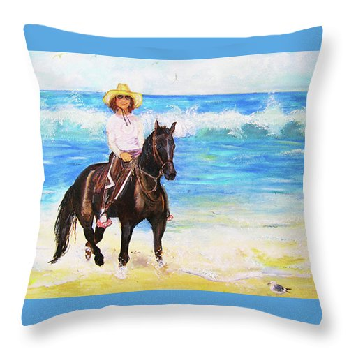 Nancy & Stormy Throw Pillow featuring the painting Nancy And Stormy by Joyce Huber