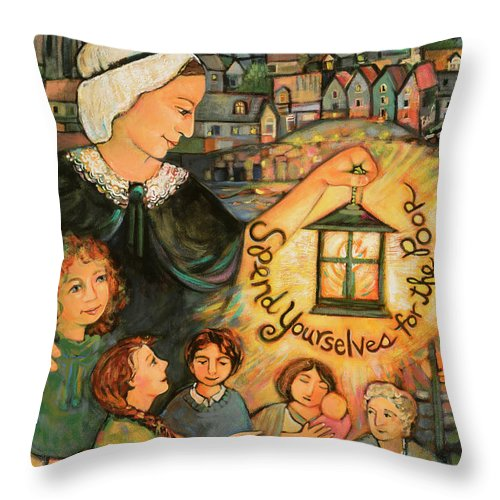 Jen Norton Throw Pillow featuring the painting Nano Nagle, Foundress Of The Sisters Of The Presentation by Jen Norton