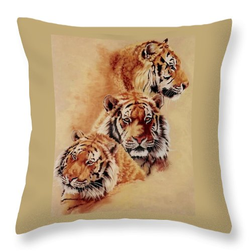Tiger Throw Pillow featuring the pastel Nanook by Barbara Keith
