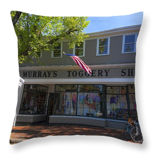 Nantucket Throw Pillow featuring the photograph Nantucket Murrays Toggery Shop - Y1 by Carlos Diaz