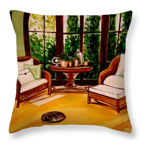 Cats Throw Pillow featuring the painting Nap Time by Elizabeth Robinette Tyndall