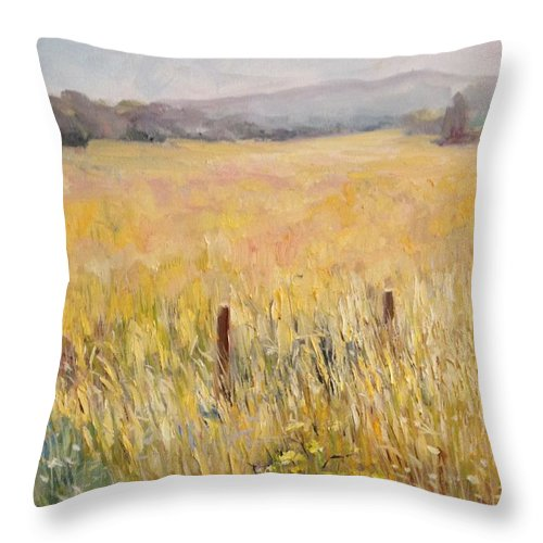Country Throw Pillow featuring the painting Napa Fields by Wyn Ericson
