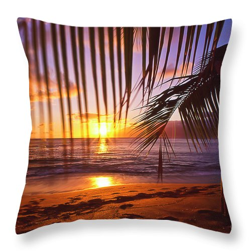 Sunset Throw Pillow featuring the photograph Napili Bay Sunset Maui Hawaii by Jim Cazel