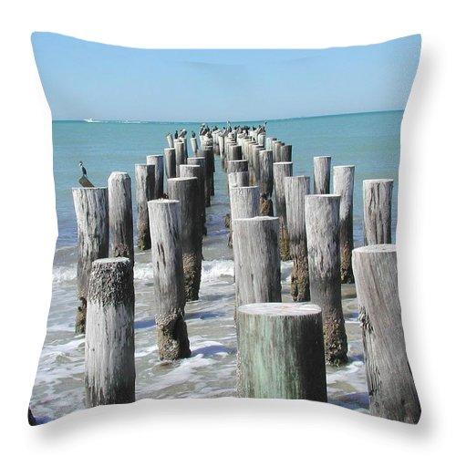 Ocean Throw Pillow featuring the photograph Naples Pier by Tom Reynen