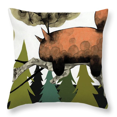 Animal Throw Pillow featuring the mixed media Napping Squirrel by Janne Nytorp
