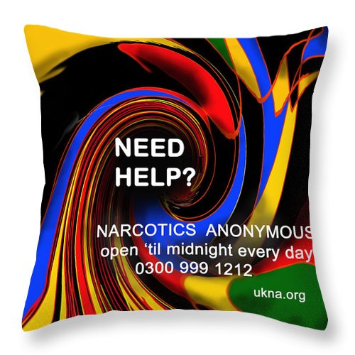 Abstract Throw Pillow featuring the digital art Narcotics Anonymous Poster by Ian MacDonald