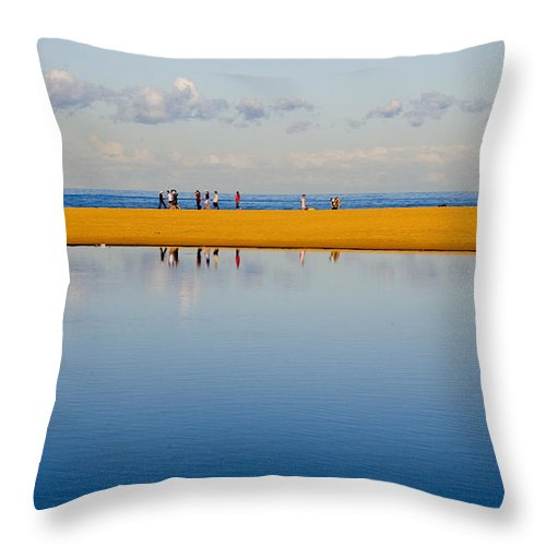 Dunes Lowry Sand Sky Reflection Sun Lifestyle Narrabeen Australia Throw Pillow featuring the photograph Narrabeen Dunes by Sheila Smart Fine Art Photography