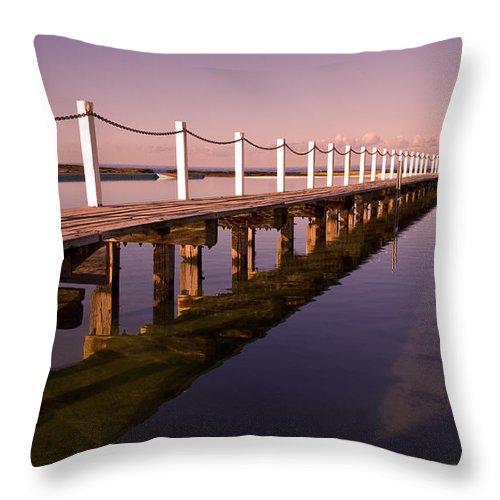 Narrabeen Sydney Sunrise Wharf Walkway Throw Pillow featuring the photograph Narrabeen Sunrise by Sheila Smart Fine Art Photography