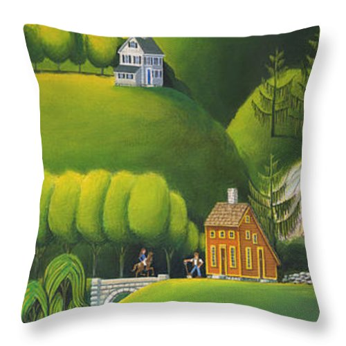 Deecken Throw Pillow featuring the painting Narrow Foothills by John Deecken
