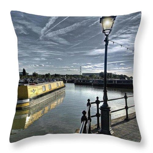 Nature Throw Pillow featuring the photograph Narrowboat Idly Dan At Barton Marina On by John Edwards