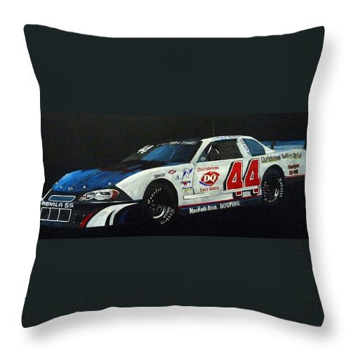Nascar Throw Pillow featuring the painting Nascar No44 by Richard Le Page