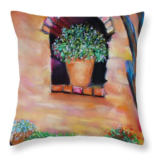 Courtyard Throw Pillow featuring the painting Nash's Courtyard by Melinda Etzold