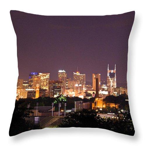 Nashville Throw Pillow featuring the photograph Nashville Night Scene by Douglas Barnett