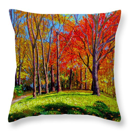 Trees Autumn Hill Grass Sunshine Shadows Sky Colors Path Throw Pillow featuring the painting Nashville North by Stan Hamilton