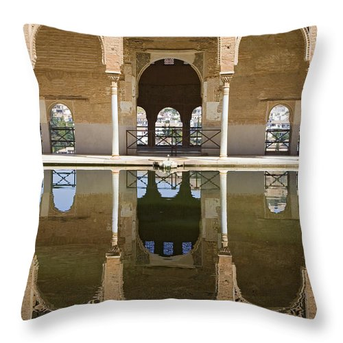 Moorish Throw Pillow featuring the photograph Nasrid Palace Arches Reflection At The Alhambra Granada by Mal Bray