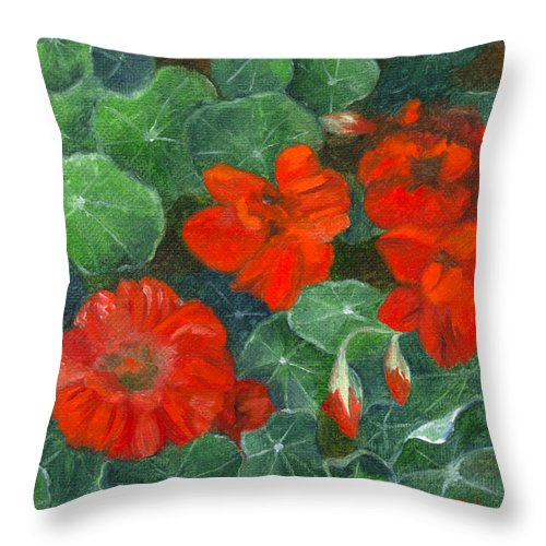 Flowers Throw Pillow featuring the painting Nasturtiums by FT McKinstry