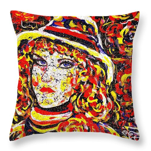 Woman Throw Pillow featuring the painting Nat With The Hat by Natalie Holland