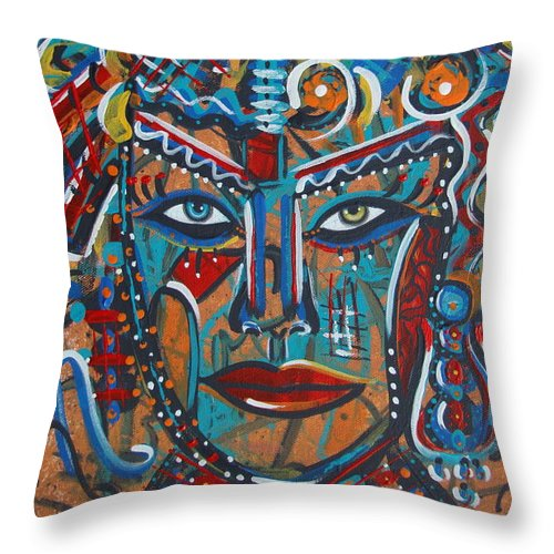 Abstract Throw Pillow featuring the painting Nataliana by Natalie Holland