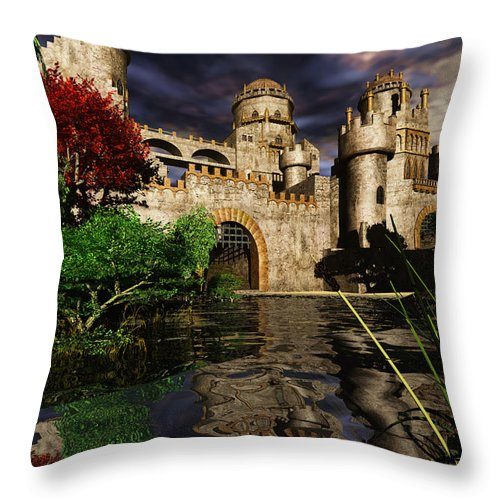 Castle Camelot Sky Duke Earl Knight Royalty Throw Pillow featuring the mixed media Natalie's Castle by Steven Palmer
