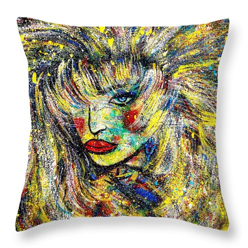 Portrait Throw Pillow featuring the painting Natalya by Natalie Holland
