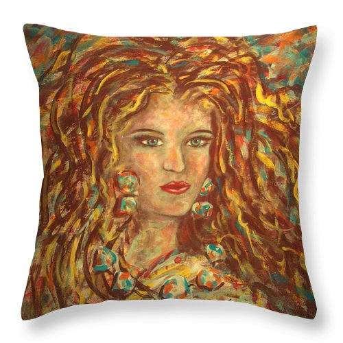 Natashka Throw Pillow featuring the painting Natashka by Natalie Holland
