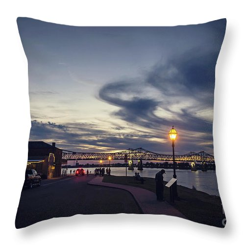 Riverfront Throw Pillow featuring the photograph Natchez Under-the-hill by Joan McCool