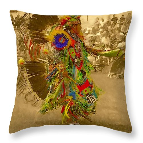 Indian Throw Pillow featuring the photograph National Championship Pow Wow - Grand Prairie, Tx by Dyle Warren