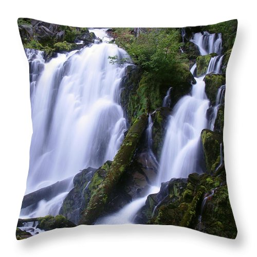 Waterfall Throw Pillow featuring the photograph National Creek Falls 09 by Peter Piatt