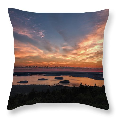 Acadia National Park Throw Pillow featuring the photograph National Sunrise by John M Bailey