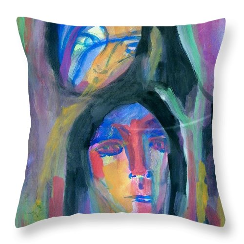 Abstract Throw Pillow featuring the painting Native America by Judith Redman