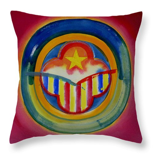 Button Throw Pillow featuring the painting Native American by Charles Stuart