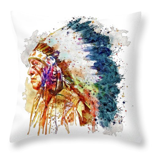 Native American Throw Pillow featuring the painting Native American Chief Side Face by Marian Voicu