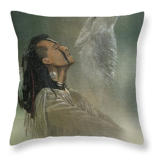 American Throw Pillow featuring the painting Native American Indian by Morgan Fitzsimons