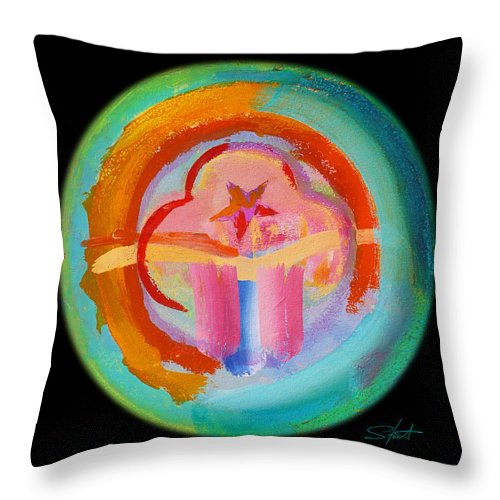 Throw Pillow featuring the painting Native American Plate by Charles Stuart