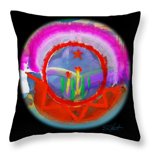 Black Hills Throw Pillow featuring the painting Native American Spring by Charles Stuart