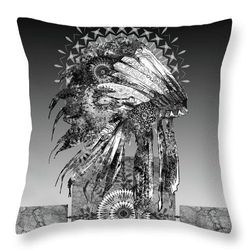 Feathers Throw Pillow featuring the digital art Native Headdress Black And White 2 by Bekim M