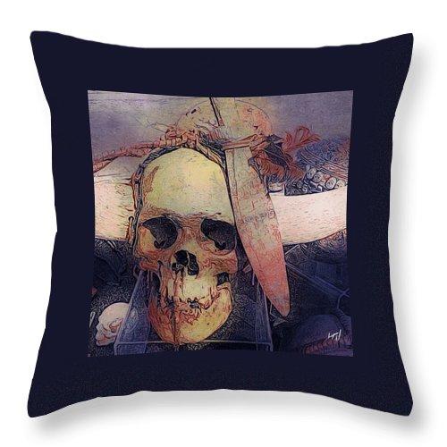 Skeleton Skull Bones Tribal Native Noir Dark Throw Pillow featuring the digital art Native Skull by Chad Wagner