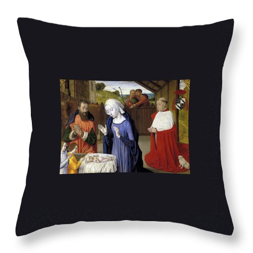 Christmas Throw Pillow featuring the greeting card Nativity - Master Of Moulins by Munir Alawi