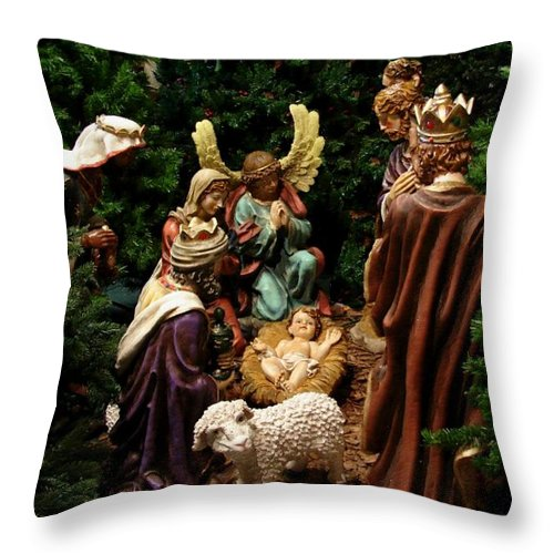 Christmas Throw Pillow featuring the photograph Nativity by Bob Carey