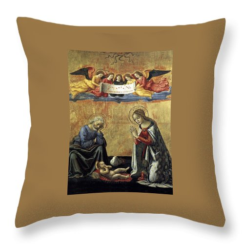 Nativity Throw Pillow featuring the painting Nativity By Domenico Ghirlandaio by Munir Alawi