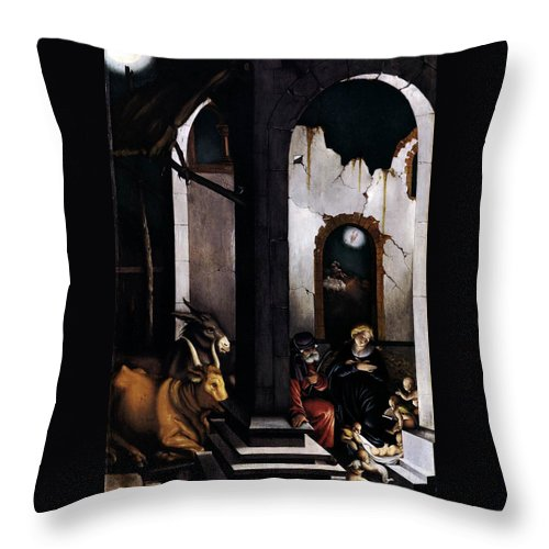 Nativity Throw Pillow featuring the painting Nativity By Hans Baldung Grien by Munir Alawi