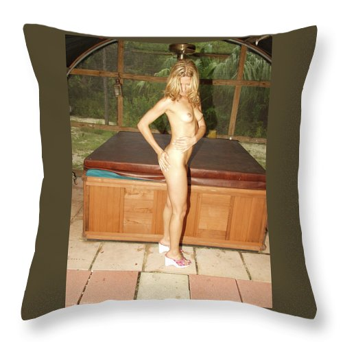 Natural Beauty Sexy Glamorous Exotic Natural Settings Blond Beauty Legs Throw Pillow featuring the photograph Natural Beauty 327 by Lucky Cole
