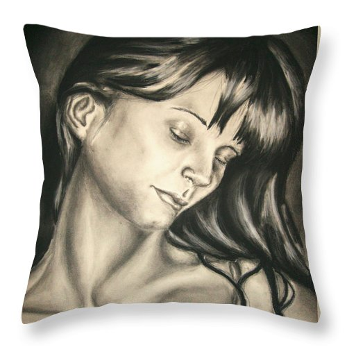 Woman Throw Pillow featuring the drawing Natural Beauty by Ashley Warbritton