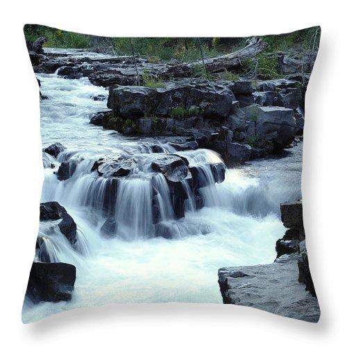 Waterfall Throw Pillow featuring the photograph Natural Bridges Falls 03 by Peter Piatt
